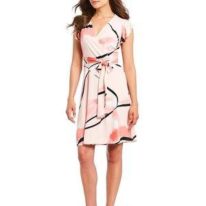 Ivanka Trump Printed Faux Wrap Dress | S